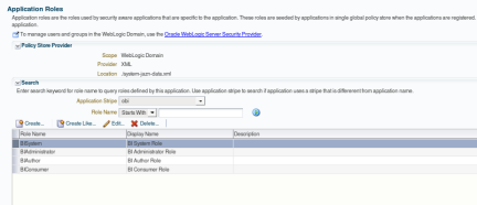 WLSEM - Application Roles